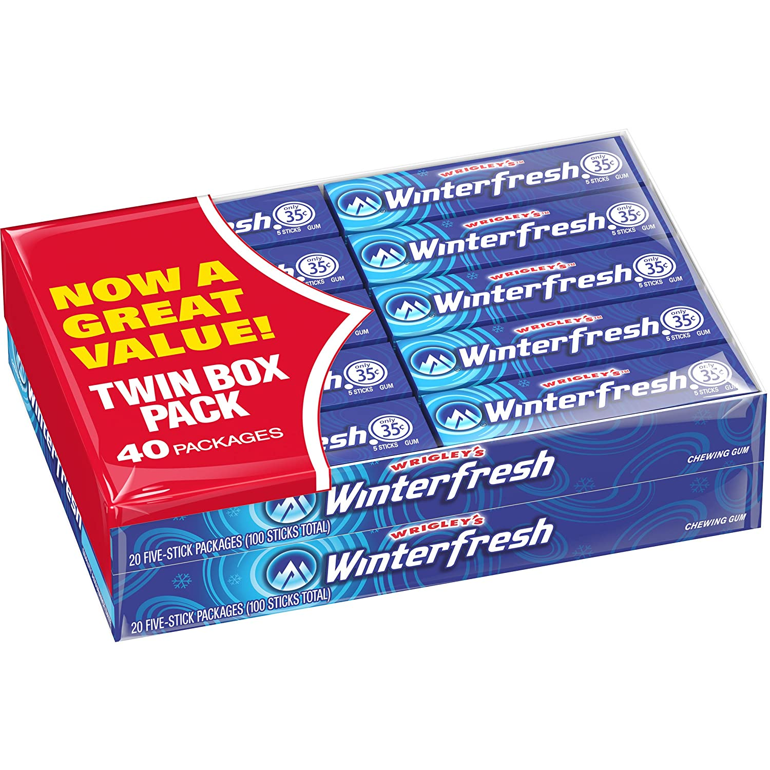 Wrigley's Winterfresh Gum, 5 Count, Pack of 40