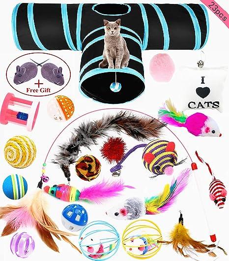 wordmo Juguetes para Gatos,23 Piezas Juguetes para Gatos Juguetes Interactivo Ratón Túnel Gato y