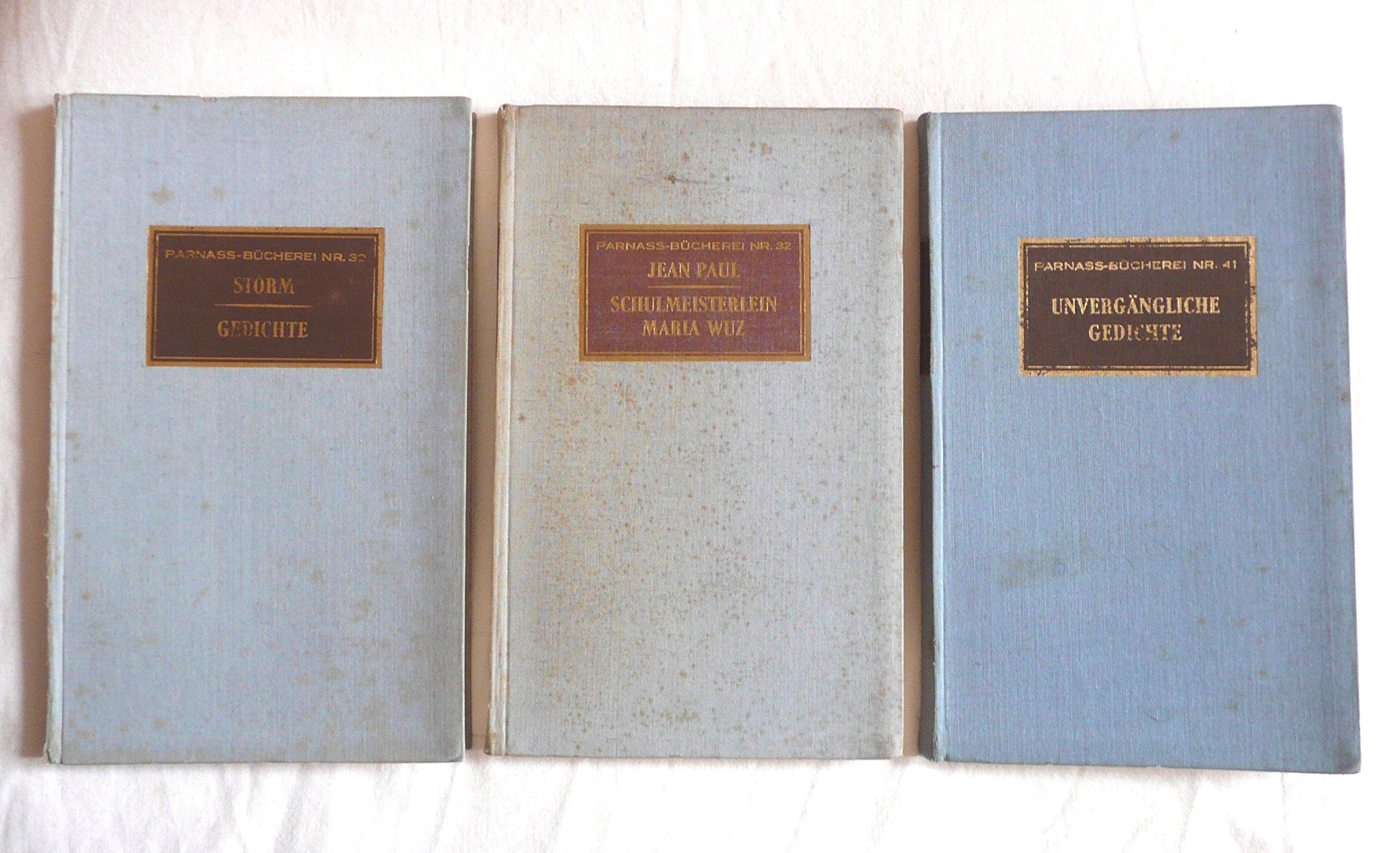 3 Volumes Parnass Bucherei Nr 303241 Gedichte Leben
