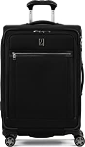 Travelpro Platinum Elite-Softside Expandable Spinner Wheel Luggage, Shadow Black, Checked-Medium 25-Inch