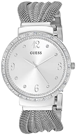 bdc8b8c116b6 GUESS Crystal Accented Stainless Steel Mesh Bracelet Watch. Color  Silver- Tone (Model