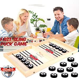 2020 Table Desktop Battle 2 in 1 Ice Hockey Game,Neo LOONS Fast-paced Table Soccer Battle Game for Party Home Parent-Child Interaction Toys, Portable Sports Battle Board Games Toy Set for Traveling C