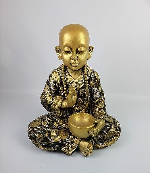 ARTESANIAROCA Buda Niño de Piedra, para Jardín. Color Oro. Mod ...