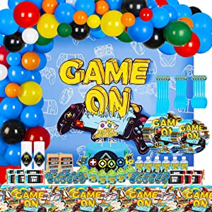 Video Game Party Supplies, 199 Pcs Party Decorations - Cupcake Toppers, Stickers, Tableware, Cupcake Wrapper, Tablecloth, Chocolate Lables, Backdrop, Balloons for Birthday Party