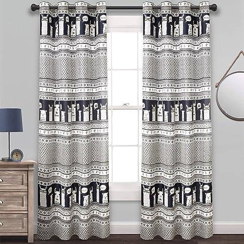 Best window curtain panel: Lush Decor Llama Stripe Curtains Pattern Room Darkening Window Panel Set