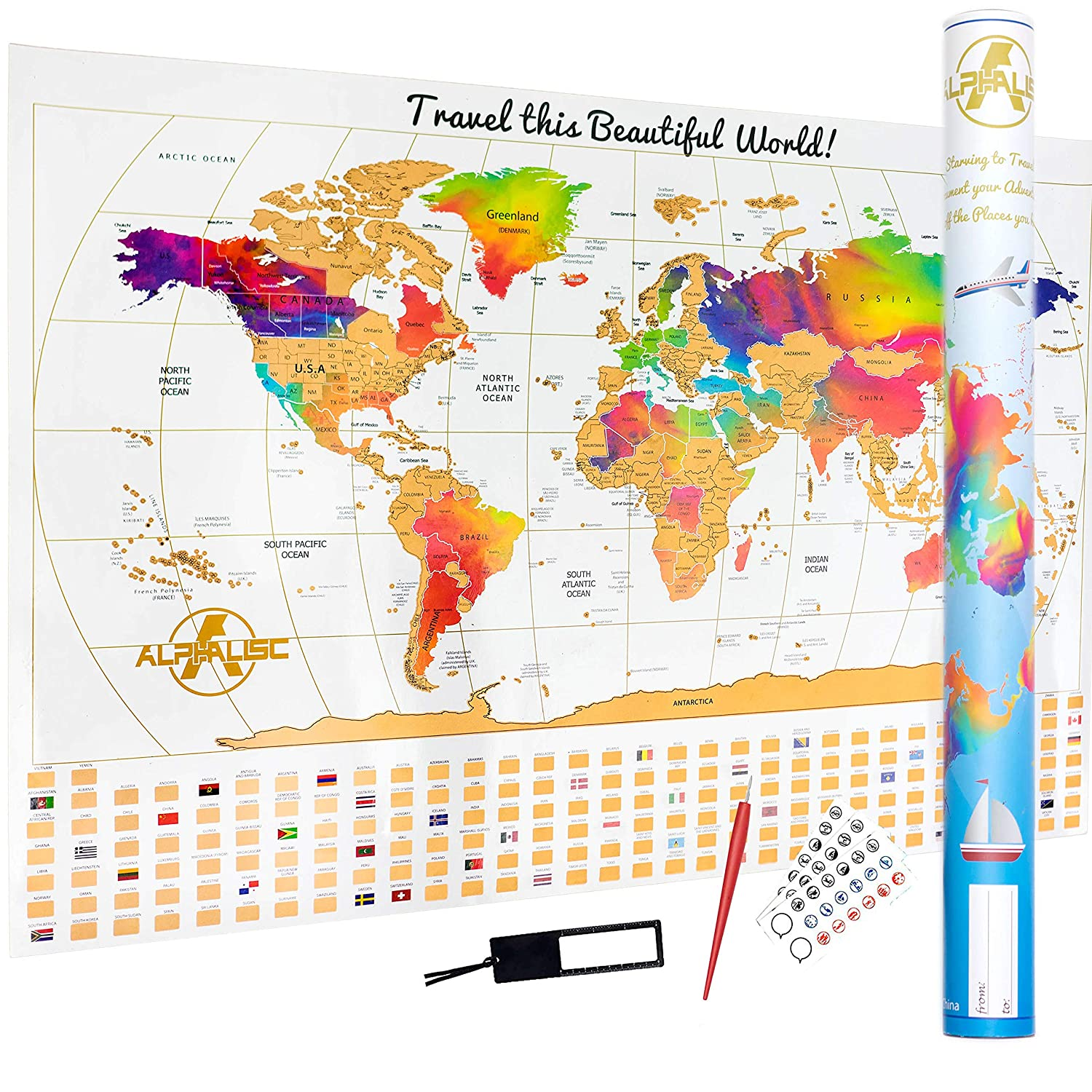 Map Of Canada And The States.Premium Scratch Off World Map Rainbow Water Colours Edition W Outlined Canadian Provinces Us States Perfect Gift 5 Pcs Bundle The Ultimate