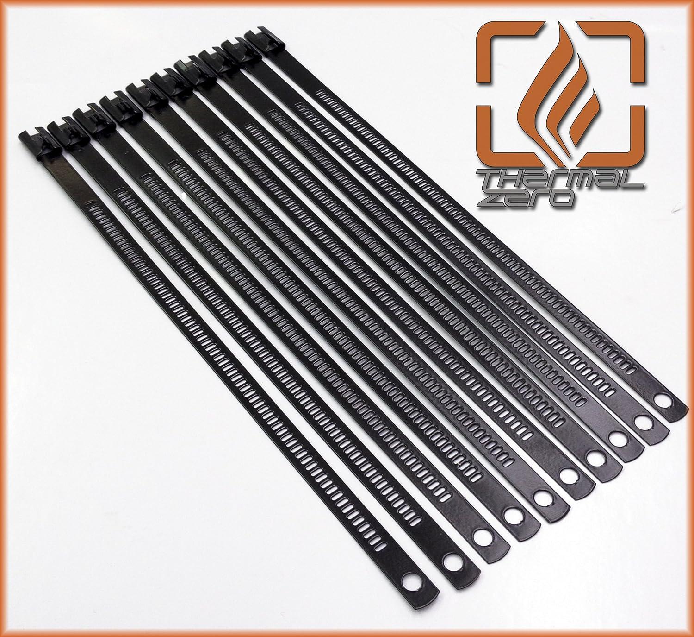 Black Snap Strip Stainless Steel Zip Tie 10 Pack 14 Long