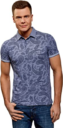 oodji Ultra Hombre Polo Recto con Estampado Paisley: Amazon.es ...