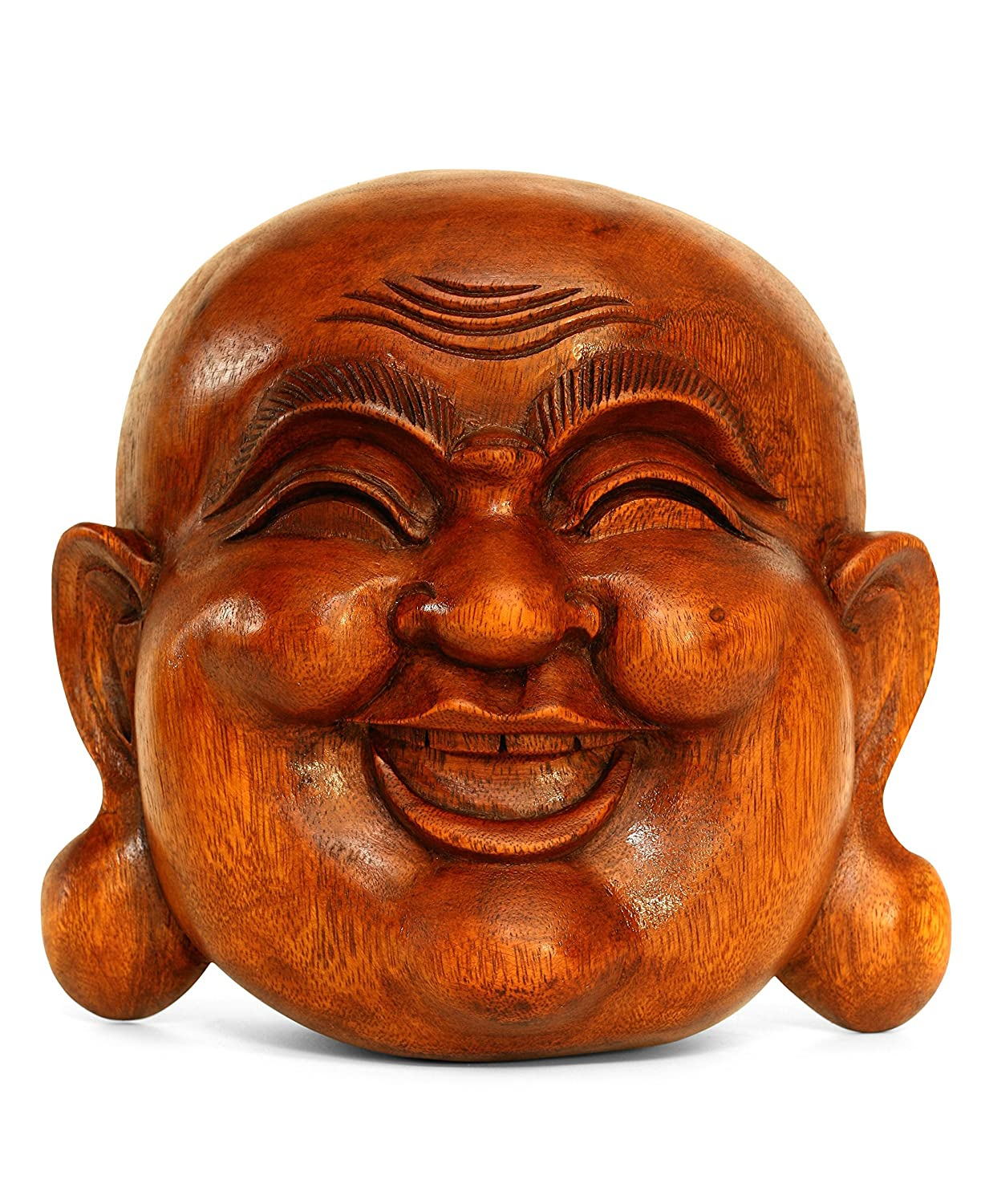 G6 COLLECTION Wooden Wall Mask Laughing Smiling Happy Buddha Head Statue Hand Carved Stand Alone Sculpture Handmade Figurine Decorative Home Decor Accent Rustic Handcrafted Art Wall Hanging Decoration
