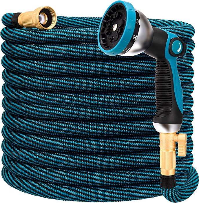 HIYUTOY Garden Hose Expandable Flexible Hose, Expanding Water Hose Kit Collapsible with 10 Function Spray Nozzle, Durable Stronge Hose Fabric-Multi Latex Core, No Kink Tangle (75FT, Blue)