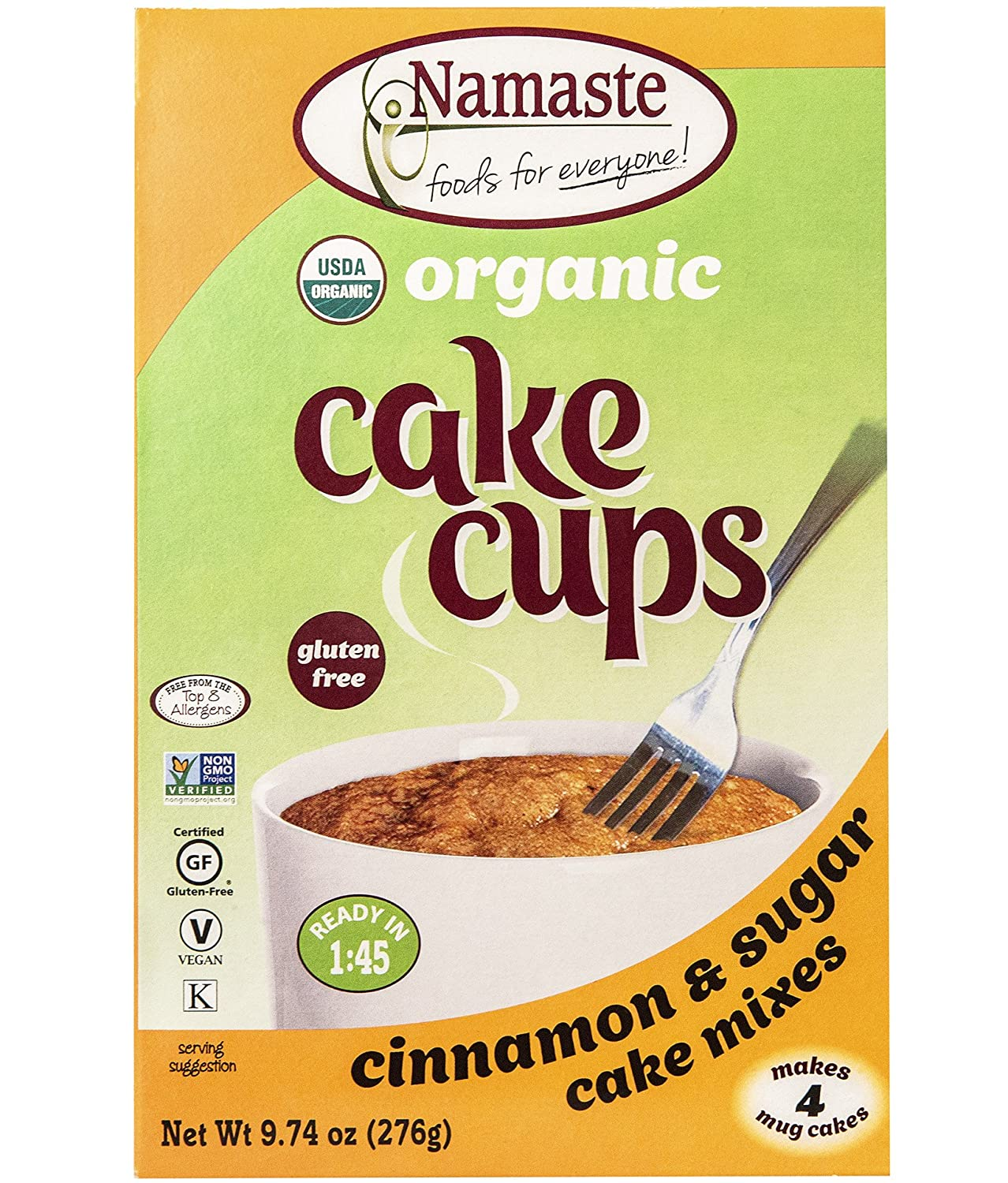 Namaste Foods Organic Gluten Free Cake Cup, Cinnamon & Sugar, 9.74 Ounce, 4 Individual Pouches – Allergen Free