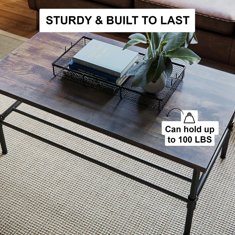 Dark Brown//Black Nathan James 31101 Doxa Modern Industrial Coffee Table Wood and Metal Box Frame