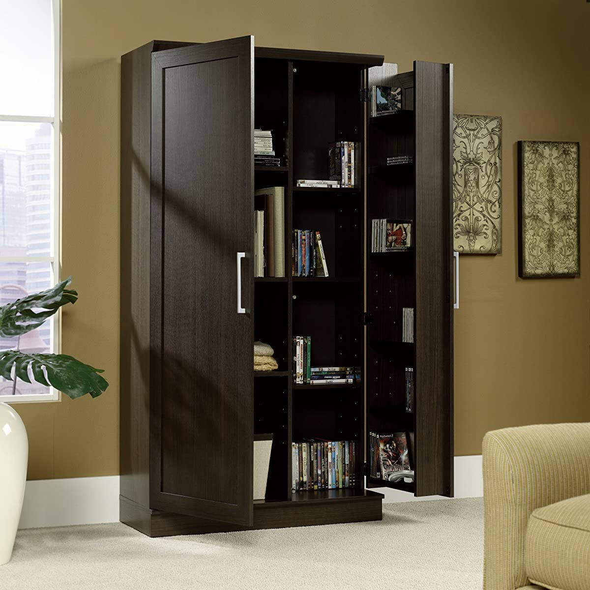 Sauder Double Door Storage Cabinet, Large, Dakota Oak