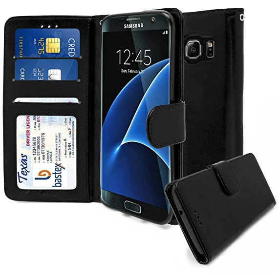 new concept e35f9 116ac Samsung Galaxy S7 Edge Wallet Case, Bastex Shiny PU Leather Black Flip  Wallet Credit Card Cover for Samsung Galaxy S7 Edge