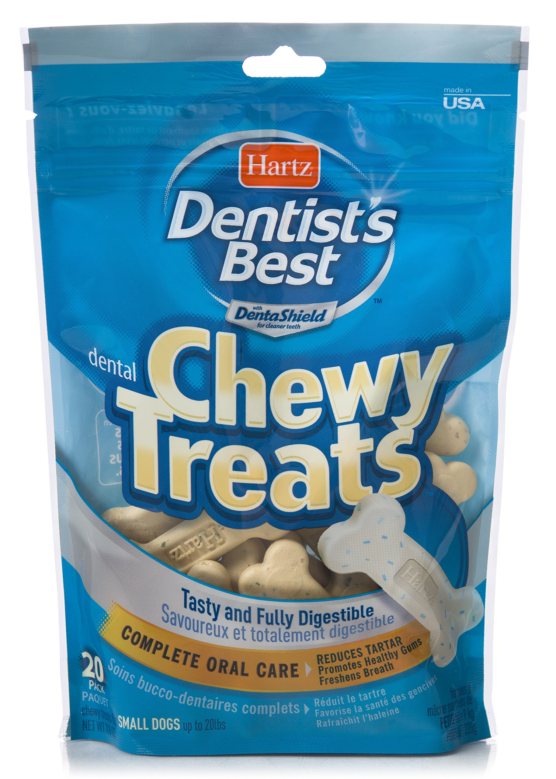HARTZ Dentist's Best Chewy Dental Care Dog Treat Bones - 20 Pack