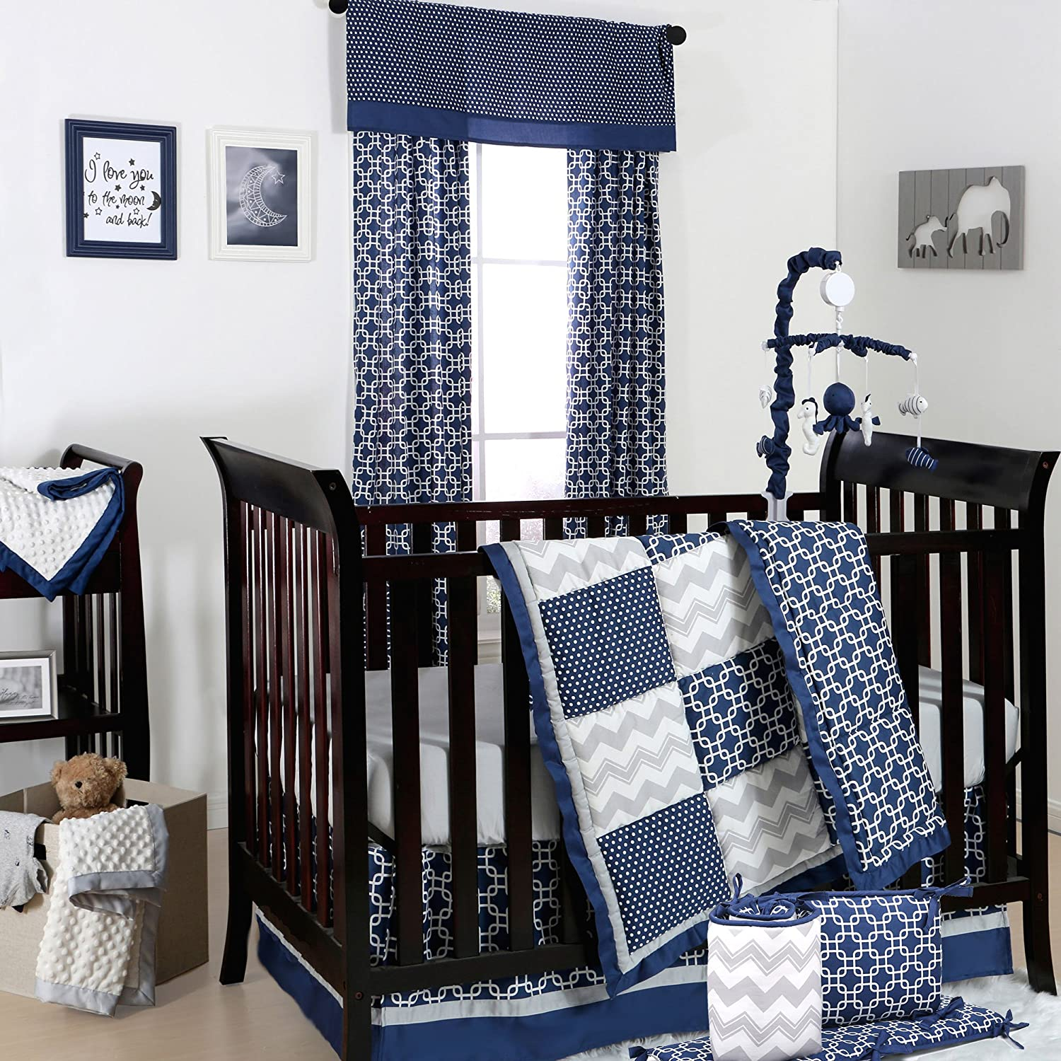 Amazon Navy Blue And Grey Geometric Patchwork 5 Piece Baby Bedding By The Peanut Shell