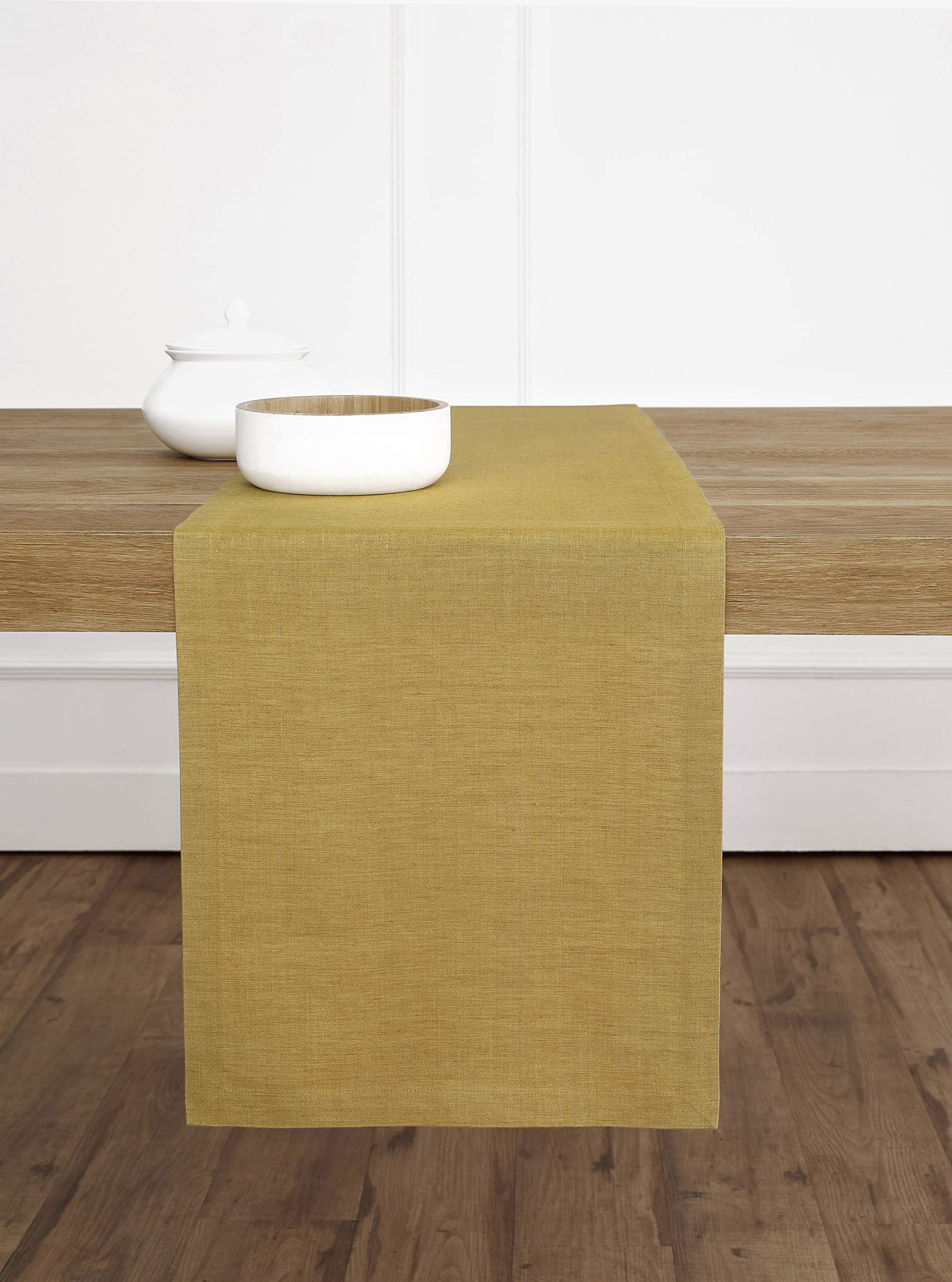 Solino Home 100% Pure Linen Table Runner – 14 x 60 Inch, Tesoro Runner, Natural and Handcrafted from European Flax – Mustard Gold