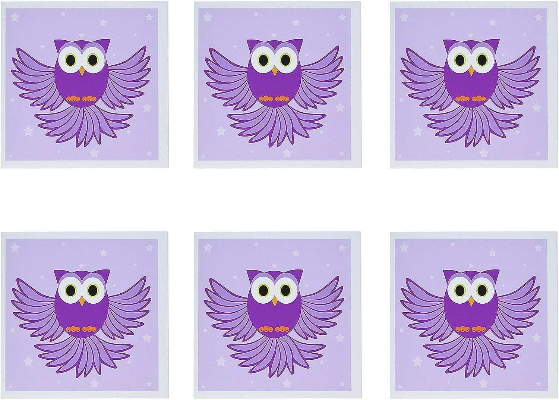 3Drosa 20,3 x 20,3 x 0,6 cm cute viola Flying Owl Under Stars biglietti di auguri, set di 6 (GC 20374 _ 1)