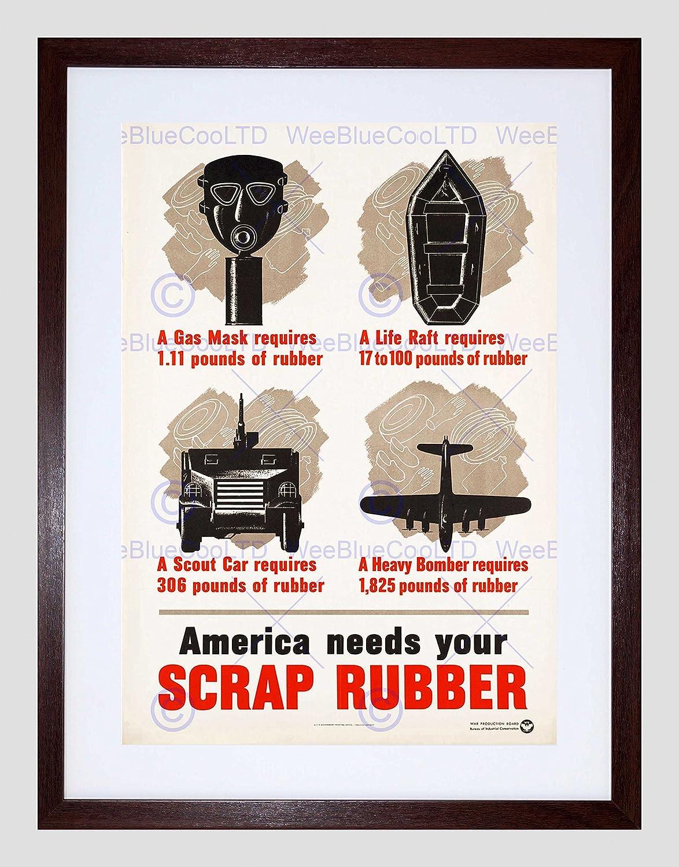 The Art Stop Propaganda Guerra segunda guerra mundial EE. UU. Campaña de chatarra de goma máscara de gas Framed Art Print B12 X 7725 12 x 16 in - 30.5 x ...