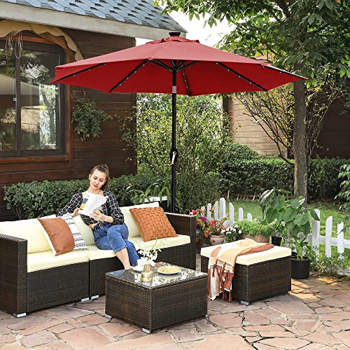 SONGMICS 9 ft Solar Patio Umbrella