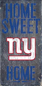 New York Giants Official NFL 14.5 inch x 9.5 inch Wood Sign Home Sweet Home by Fan Creations 048494