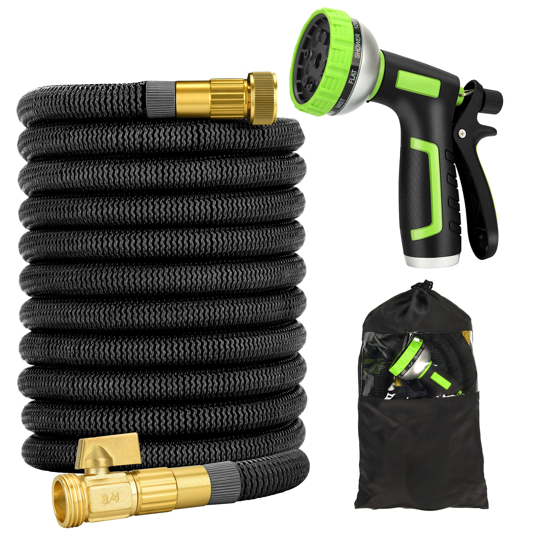 Garden Hose 50ft - Expandable Water Hose with Double Latex Core, Heavy Duty, Light Weight, Flexible Expanding Hose with 10 Function Spray Nozzle (50ft)