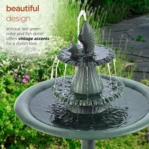 Alpine Corporation 3 Tiered Pedestal Water Bird Bath With Fish Design Floor Fountain 40 Inch Tall Green Birdbaths Garden Outdoor Amazon Com
