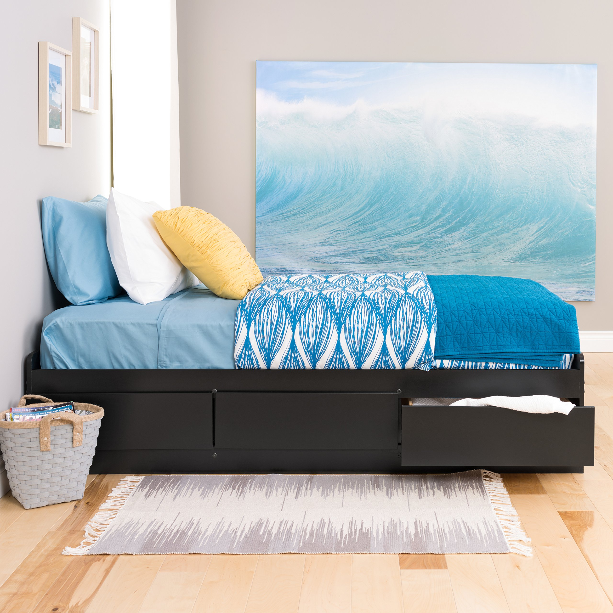 Black Twin XL Mate's Platform Storage Bed with 3 Drawers by Prepac