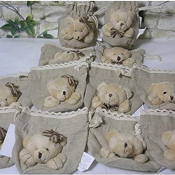 Geschenk,Mädchen Taufe Gastgeschenk Leinensäckchen Teddy Kindergeburstag