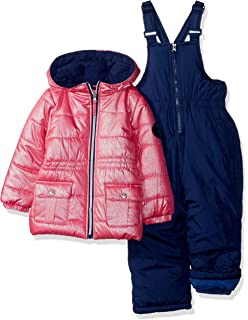 82473203b Amazon.com  Pink Platinum Girls  Insulated Two-Piece Snowsuit  Clothing