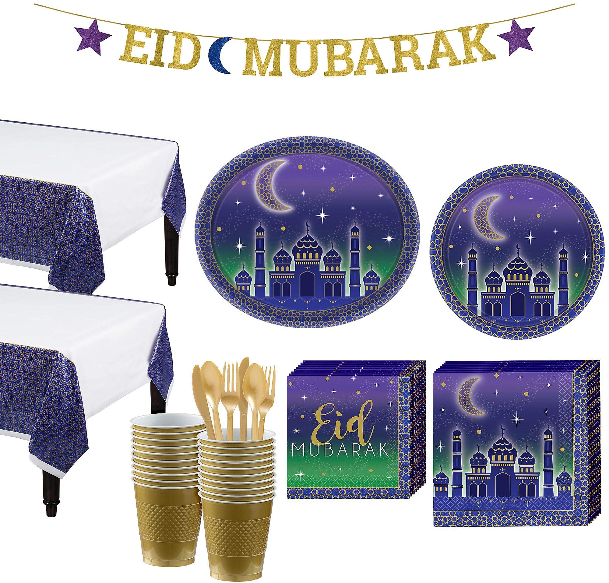 Party City Eid Basic Ramadan Party Kit and Supplies for 16 Guests, Includes Table Covers, Plates, Cups and More