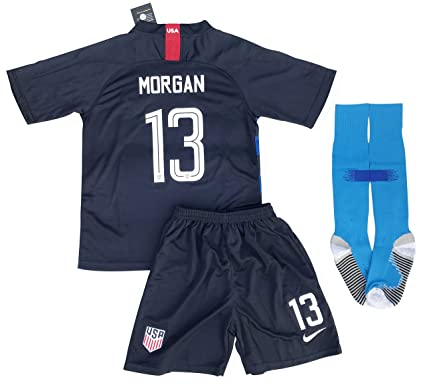 New #13 Morgan USA Soccer 2018/2019 Away Jersey Shorts & Socks for Kids