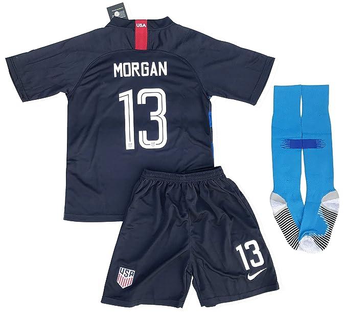 8f589f59a New  13 Morgan USA Soccer 2018 2019 Away Jersey Shorts   Socks for Kids