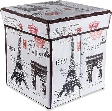 Intirilife Puff Baúl Plegable 30x30x30 cm in Torre Eiffel ...