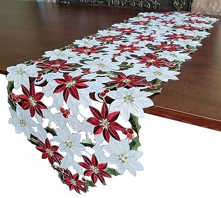 GRANDDECO Camino de Mesa navideño con Flores Bordadas para ...