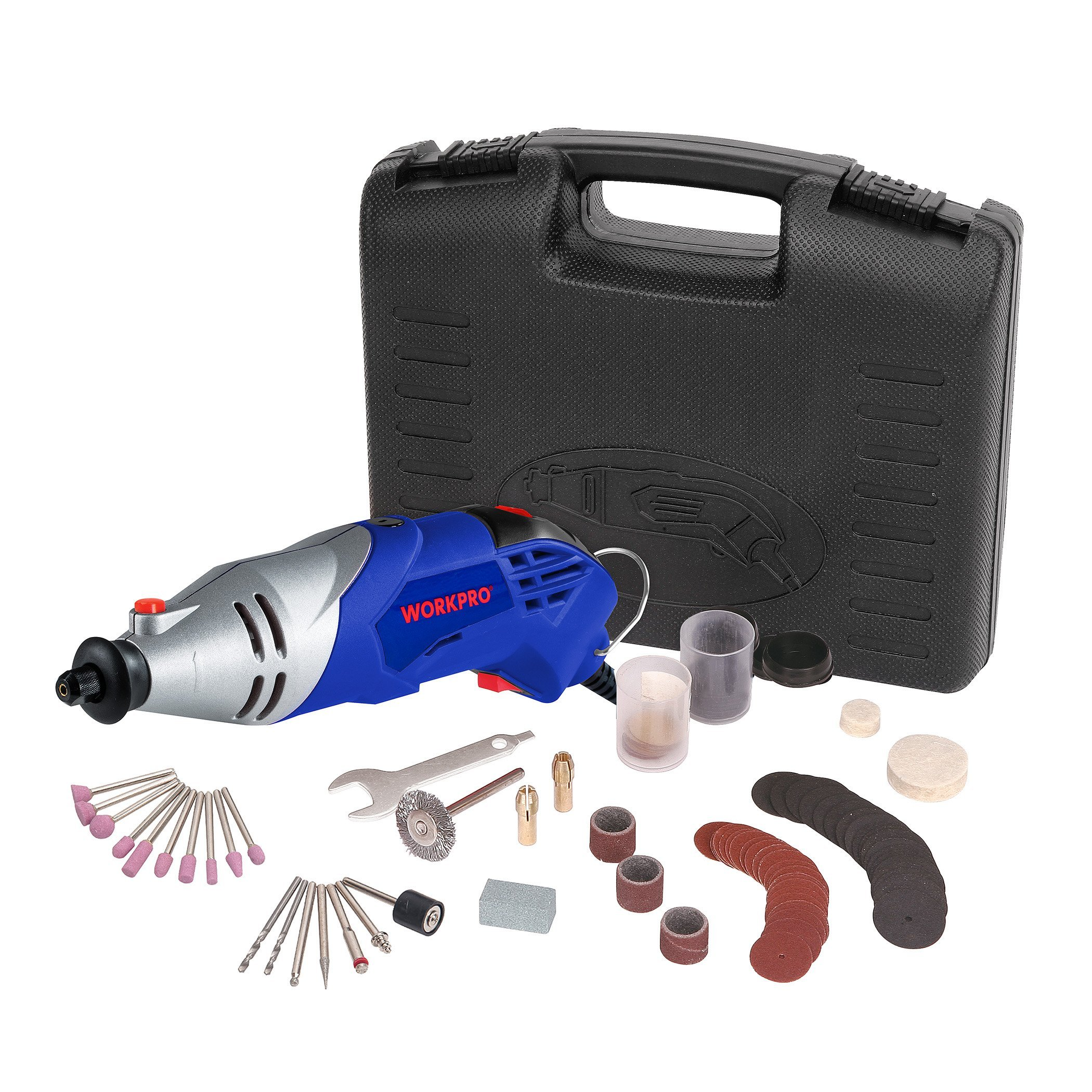 WORKPRO Rotary Tool Kit Variable Speed with 104-Piece Accessories Universal Fitment for Easy Cutting, Carving and Polishing