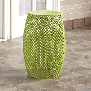 The Lakeside Collection Metal Outdoor Garden Stool, Accent Table, Side Table, or Plant Stand - Avocado Green