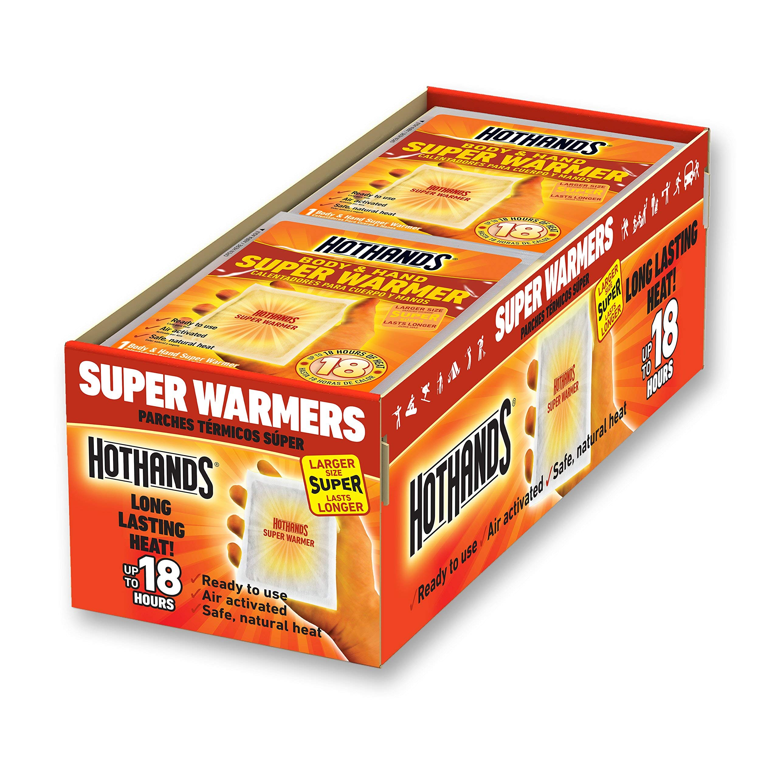 HotHands Body & Hand Super Warmers - Long Lasting Safe Natural Odorless Air Activated Warmers - Up to 18 Hours of Heat - 40 Individual Warmers (Renewed) by HotHands