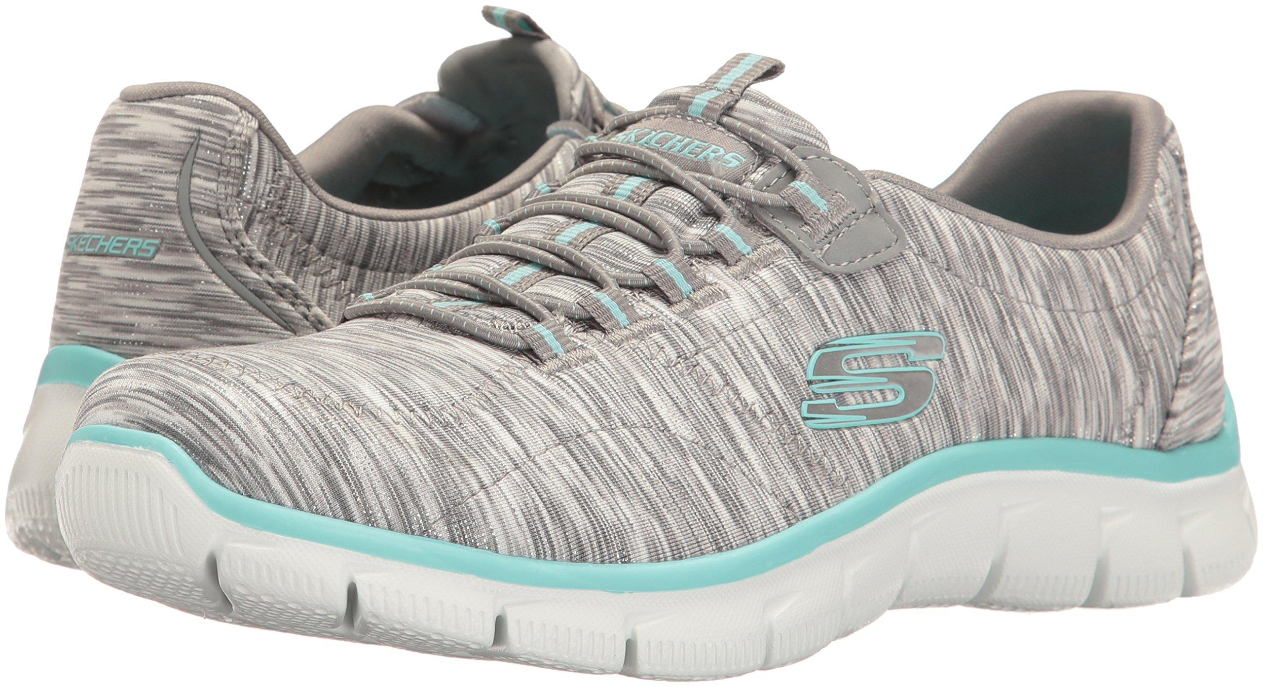 Skechers Women's Sport Empire - Rock Around Relaxed Fit Fashion Sneaker, Gray/Light Blue, 9 B(M) US by Skechers (Image #6)