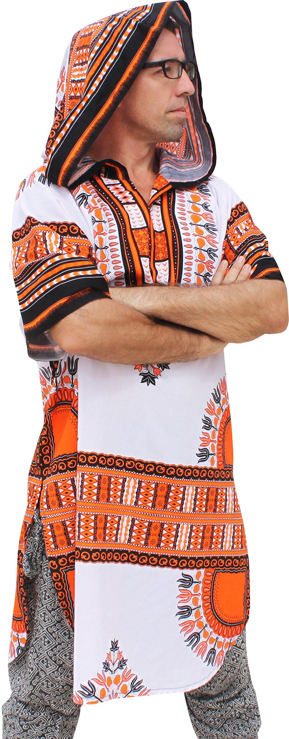 RaanPahMuang African Dashiki Long Urban Warlock Jacket Hood Hoody Fashion, Medium, Orange on White