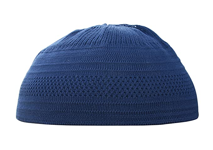9dc1bc5c7e4 Dark Blue Cotton Stretch Knit Kufi Hat Skull Prayer Cap Beanie (S ...