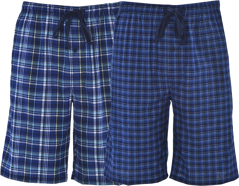 Hanes Men`s Woven Plaid 2-Pack Shorts