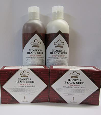 Honey Black Seed Soap, Lotion Body Wash Set.. by Nubian Heritage 4 Pack … iwgl