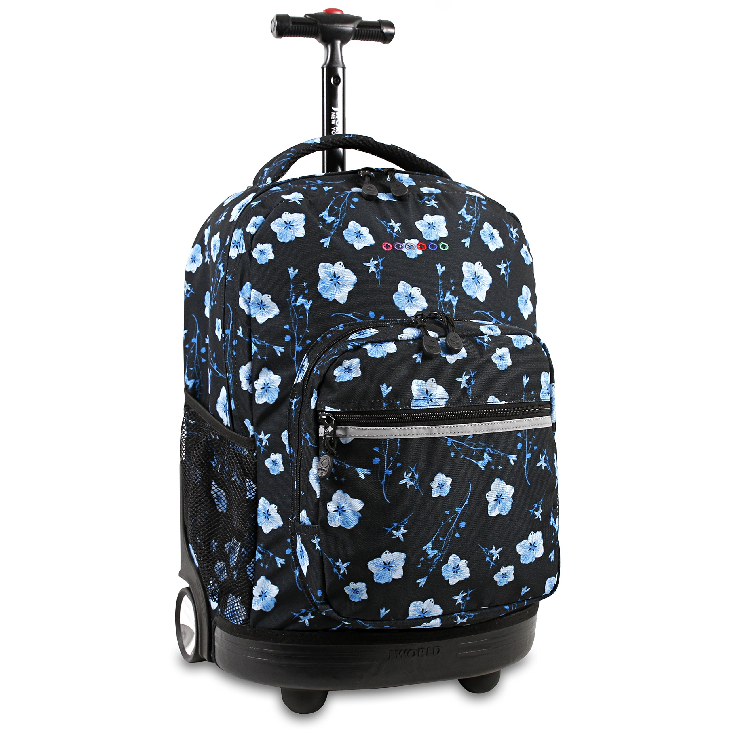 J World New York Girls' Sunrise Rolling Backpack Fashion, Night Bloom One Size