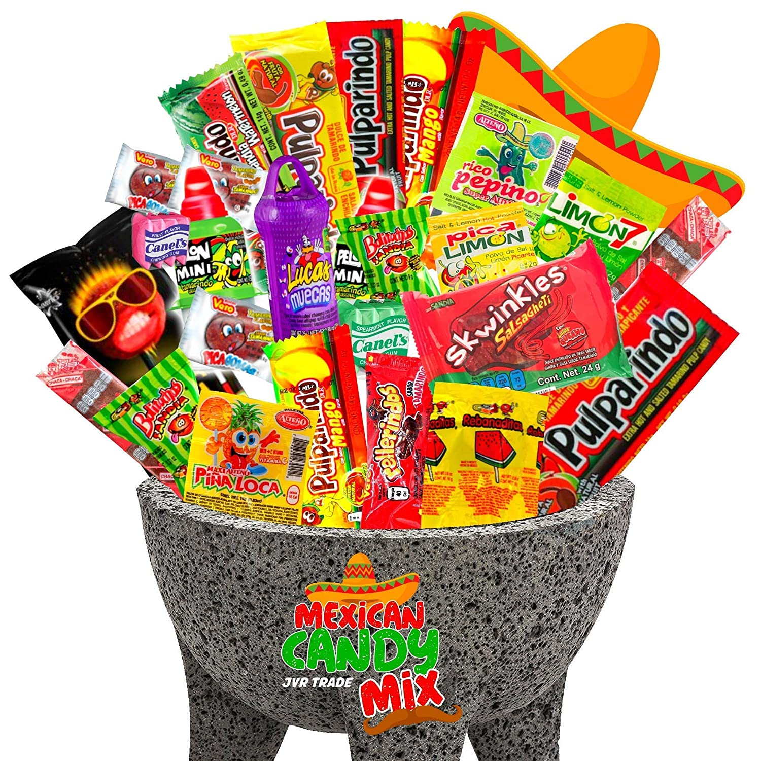 Mexican Candy Mix Assortment Snack (40 Count) Dulces Mexicanos Variety Of Best Sellers Spicy, Sweet, and Sour Bulk candies, Includes Luca Candy, Pelon, Pulparindo, Rellerindo, by JVR TRADE