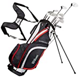 Wilson Beginner Complete Set, 10 golf clubs with stand bag, Men's, Stretch XL, Black/Grey/Red