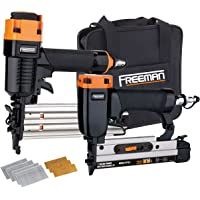 Freeman PPPBRCK 2-Piece Brad/Pinner Kit with Nails and Canvas Storage Bag Ergonomic & Lightweight Pneumatic Brad & Pin Gun Set for Finish & Trim