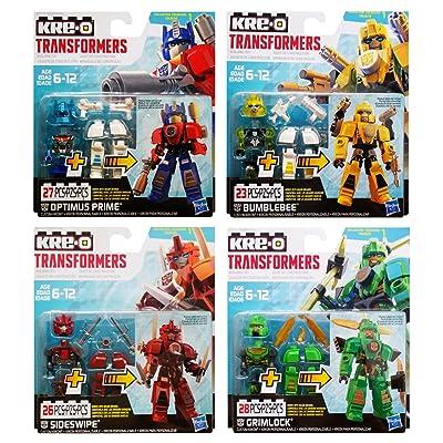 KRE-O Transformers Custom Kreons Collection 1: Optimus Prime, Bumblebee, Sideswipe & Grimlock: Toys & Games