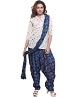 Jublee Women's Printed Blue Cotton Patiala with Dupatta Set