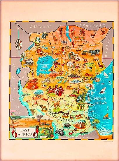Amazon.com: A SLICE IN TIME 1961 Kenya East Africa Map Vintage ...